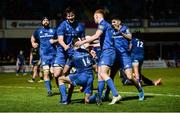 28 February 2020; Dave Kearney of Leinster is congratulated by team-mates after scoring the last try of the game during the Guinness PRO14 Round 13 match between Leinster and Glasgow Warriors at the RDS Arena in Dublin. Photo by Diarmuid Greene/Sportsfile