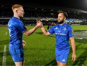 28 February 2020; Ciarán Frawley and Jamison Gibson-Park of Leinster celebrate after the Guinness PRO14 Round 13 match between Leinster and Glasgow Warriors at the RDS Arena in Dublin. Photo by Diarmuid Greene/Sportsfile