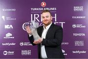 28 February 2020; Paul Stirling with his Turkish Airlines Men's International Player of the Year Trophy at the Turkish Airlines Irish Cricket Awards 2020 at The Marker Hotel in Dublin. Photo by Matt Browne/Sportsfile