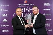 28 February 2020; Masan Mutlu, General Manager of Turkish Airlines, presents Paul Stirling with his Turkish Airlines Men's International Player of the Year Trophy at the Turkish Airlines Irish Cricket Awards 2020 at The Marker Hotel in Dublin. Photo by Matt Browne/Sportsfile