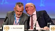 29 February 2020; Uachtarán Chumann Lúthchleas Gael John Horan, right, with Uachtarán Tofa Chumann Lúthchleas Gael Larry McCarthy during the GAA Annual Congress 2020 at Croke Park in Dublin. Photo by Piaras Ó Mídheach/Sportsfile
