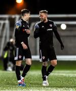28 February 2020; Stephen Mallon of Derry City, left, celebrates with Tim Nilsen after scoring his side's first goal during the SSE Airtricity League Premier Division match between Derry City and Bohemians at the Ryan McBride Brandywell Stadium in Derry. Photo by Oliver McVeigh/Sportsfile