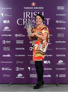 28 February 2020; Carrie Archer who was presented with the Toyota Super 3s Player of the Year award on behalf of Leah Paul, who could not attend, during the Turkish Airlines Irish Cricket Awards 2020 at The Marker Hotel in Dublin. Photo by Matt Browne/Sportsfile