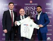 28 February 2020; Kieran Kennedy from O'Neill's is presented with an Ireland shirt by Mark Adair and Simi Singh during the Turkish Airlines Irish Cricket Awards 2020 at The Marker Hotel in Dublin. Photo by Matt Browne/Sportsfile