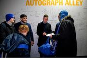 28 February 2020; Leinster players Vakh Abdaladze, Rory O'Loughlin and Rob Kearney in Autograph Alley at the Guinness PRO14 Round 13 match between Leinster and Glasgow Warriors at the RDS Arena in Dublin. Photo by Ramsey Cardy/Sportsfile
