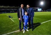 28 February 2020; Matchday mascot 9 year old Rory Doran with Leinster players Adam Byrne and Barry Daly ahead of the Guinness PRO14 Round 13 match between Leinster and Glasgow Warriors at the RDS Arena in Dublin. Photo by Ramsey Cardy/Sportsfile