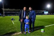 28 February 2020; Matchday mascot 8 year old Tom Crowe with Leinster players Adam Byrne and Barry Daly ahead of the Guinness PRO14 Round 13 match between Leinster and Glasgow Warriors at the RDS Arena in Dublin. Photo by Ramsey Cardy/Sportsfile