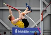 29 February 2020; Diarmuid O'Connor of Bandon AC, Cork, competing in the Senior Men's Pole Vault event during day one of the Irish Life Health National Senior Indoor Athletics Championships at the National Indoor Arena in Abbotstown in Dublin Photo by Sam Barnes/Sportsfile