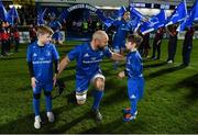 28 February 2020; Leinster captain Scott Fardy with matchday mascots 9 year old Rory Doran, and 8 year old Tom Crowe, ahead of the Guinness PRO14 Round 13 match between Leinster and Glasgow Warriors at the RDS Arena in Dublin. Photo by Ramsey Cardy/Sportsfile