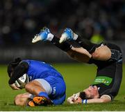 28 February 2020; James Lowe of Leinster is tackled by George Horne of Glasgow Warriors during the Guinness PRO14 Round 13 match between Leinster and Glasgow Warriors at the RDS Arena in Dublin. Photo by Ramsey Cardy/Sportsfile