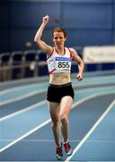 29 February 2020; Ciara Wilson of DMP AC, Wexford, celebrates on her way to winning the Senior Women's 3000m event during day one of the Irish Life Health National Senior Indoor Athletics Championships at the National Indoor Arena in Abbotstown in Dublin. Photo by Sam Barnes/Sportsfile