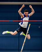 29 February 2020; Brian Flynn of Lusk AC, Dublin, competing in the Senior Men's Pole Vault event during day one of the Irish Life Health National Senior Indoor Athletics Championships at the National Indoor Arena in Abbotstown in Dublin. Photo by Sam Barnes/Sportsfile