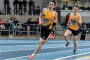 29 February 2020; Mark English of UCD AC, Dublin, competing in the Senior Men's 800m event during day one of the Irish Life Health National Senior Indoor Athletics Championships at the National Indoor Arena in Abbotstown in Dublin. Photo by Sam Barnes/Sportsfile