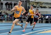 29 February 2020; Mark English of UCD AC, Dublin, centre, competing in the Senior Men's 800m event during day one of the Irish Life Health National Senior Indoor Athletics Championships at the National Indoor Arena in Abbotstown in Dublin. Photo by Sam Barnes/Sportsfile
