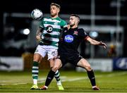 28 February 2020; Michael Duffy of Dundalk and Lee Grace of Shamrock Rovers during the SSE Airtricity League Premier Division match between Shamrock Rovers and Dundalk at Tallaght Stadium in Dublin. Photo by Ben McShane/Sportsfile