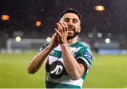 28 February 2020; Roberto Lopes of Shamrock Rovers celebrates following the SSE Airtricity League Premier Division match between Shamrock Rovers and Dundalk at Tallaght Stadium in Dublin. Photo by Ben McShane/Sportsfile