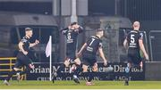 28 February 2020; Jordan Flores of Dundalk, 6, celebrates after scoring his side's first goal with team-mates during the SSE Airtricity League Premier Division match between Shamrock Rovers and Dundalk at Tallaght Stadium in Dublin. Photo by Ben McShane/Sportsfile