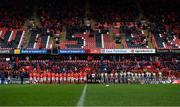 29 February 2020; Players, officials and supporters observe a minutes applause in honour of former Munster Rugby CEO Garrett Fitzgerald prior to the Guinness PRO14 Round 13 match between Munster and Scarlets at Thomond Park in Limerick. Photo by Ramsey Cardy/Sportsfile