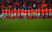 29 February 2020; Munster players and supporters observe a minutes applause in honour of former Munster Rugby CEO Garrett Fitzgerald prior to the Guinness PRO14 Round 13 match between Munster and Scarlets at Thomond Park in Limerick. Photo by Ramsey Cardy/Sportsfile
