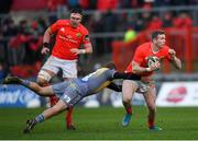 29 February 2020; Chris Farrell of Munster in action against Paul Asquith of Scarlets during the Guinness PRO14 Round 13 match between Munster and Scarlets at Thomond Park in Limerick. Photo by Ramsey Cardy/Sportsfile