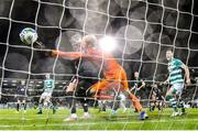 28 February 2020; Gary Rogers of Dundalk fails to stop the header of Roberto Lopes of Shamrock Rovers during the SSE Airtricity League Premier Division match between Shamrock Rovers and Dundalk at Tallaght Stadium in Dublin. Photo by Ben McShane/Sportsfile