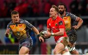 29 February 2020; Mike Haley of Munster in action against Ifan Phillips and Uzair Cassiem of Scarlets  during the Guinness PRO14 Round 13 match between Munster and Scarlets at Thomond Park in Limerick. Photo by Diarmuid Greene/Sportsfile