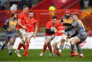 29 February 2020; Darren Sweetnam of Munster in action against Steffan Hughes of Scarlets during the Guinness PRO14 Round 13 match between Munster and Scarlets at Thomond Park in Limerick. Photo by Ramsey Cardy/Sportsfile