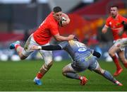 29 February 2020; Dan Goggin of Munster in action against Steffan Hughes of Scarlets during the Guinness PRO14 Round 13 match between Munster and Scarlets at Thomond Park in Limerick. Photo by Ramsey Cardy/Sportsfile
