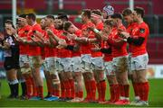29 February 2020; Munster players observe a minutes applause in memory of former CEO Garrett Fitzgerald prior to the Guinness PRO14 Round 13 match between Munster and Scarlets at Thomond Park in Limerick. Photo by Diarmuid Greene/Sportsfile