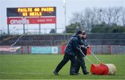 29 February 2020; A general view of Omagh St Enda's officials taking water off the pitch before the Allianz Football League Division 1 Round 5 match between Tyrone and Dublin at Healy Park in Omagh, Tyrone. Photo by Oliver McVeigh/Sportsfile