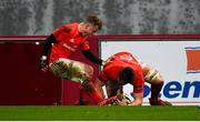 29 February 2020; Billy Holland of Munster is congratulated by team-mate Craig Casey after scoring his side's second try during the Guinness PRO14 Round 13 match between Munster and Scarlets at Thomond Park in Limerick. Photo by Diarmuid Greene/Sportsfile