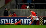 29 February 2020; JJ Hanrahan of Munster kicks a conversion with the assiatance of team-mate Craig Casey during the Guinness PRO14 Round 13 match between Munster and Scarlets at Thomond Park in Limerick. Photo by Diarmuid Greene/Sportsfile