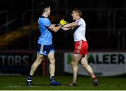 29 February 2020; David Byrne of Dublin and Peter Harte of Tyrone tussle during the Allianz Football League Division 1 Round 5 match between Tyrone and Dublin at Healy Park in Omagh, Tyrone. Photo by David Fitzgerald/Sportsfile