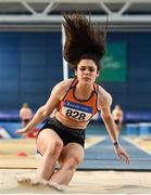 29 February 2020; Laura Frawley of St Marys AC,  Limerick, competing in the Senior Women's Long Jump event during day one of the Irish Life Health National Senior Indoor Athletics Championships at the National Indoor Arena in Abbotstown in Dublin. Photo by Sam Barnes/Sportsfile