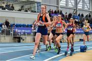 29 February 2020; Emma O'Brien of Sli Cualann AC, Wicklow, competing in the Senior Women's 3000m event during day one of the Irish Life Health National Senior Indoor Athletics Championships at the National Indoor Arena in Abbotstown in Dublin. Photo by Sam Barnes/Sportsfile