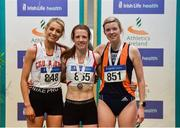 29 February 2020; Senior Women's 3000m medallists, from left, Niamh Allen of Crusaders AC, Dublin, silver, Ciara Wilson of DMP AC, Wexford, gold, and Niamh Kearney of Sli Cualann AC, Wicklow, bronze, competing in the event during day one of the Irish Life Health National Senior Indoor Athletics Championships at the National Indoor Arena in Abbotstown in Dublin. Photo by Sam Barnes/Sportsfile