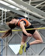 29 February 2020; Philippa Rogan of Sli Cualann AC, Wicklow, competing in the Senior Women's High Jump event during day one of the Irish Life Health National Senior Indoor Athletics Championships at the National Indoor Arena in Abbotstown in Dublin. Photo by Sam Barnes/Sportsfile