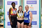 29 February 2020; Senior Women's 200m medallists, from left, Rhasidat Adeleke of Tallaght AC, Dublin, silver, Phil Healy of Bandon AC, Cork, gold, and Catherine Mcmanus of Dublin City Harriers AC, bronze during day one of the Irish Life Health National Senior Indoor Athletics Championships at the National Indoor Arena in Abbotstown in Dublin. Photo by Sam Barnes/Sportsfile