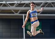 29 February 2020; Katelyn Farrelly of Tullamore Harriers AC, Offaly, competing in the Senior Women's Long Jump event during day one of the Irish Life Health National Senior Indoor Athletics Championships at the National Indoor Arena in Abbotstown in Dublin. Photo by Sam Barnes/Sportsfile