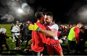 29 February 2020; Kyle Coney, right, and Niall Morgan of Tyrone celebrate following the Allianz Football League Division 1 Round 5 match between Tyrone and Dublin at Healy Park in Omagh, Tyrone. Photo by David Fitzgerald/Sportsfile