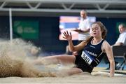 29 February 2020; Kate Hosey of Corran AC, Sligo , competing in the Senior Women's Long Jump event during day one of the Irish Life Health National Senior Indoor Athletics Championships at the National Indoor Arena in Abbotstown in Dublin. Photo by Sam Barnes/Sportsfile