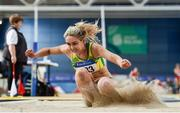 29 February 2020; Amy Mcteggart of Boyne AC, Louth, competing in the Senior Women's Long Jump event during day one of the Irish Life Health National Senior Indoor Athletics Championships at the National Indoor Arena in Abbotstown in Dublin. Photo by Sam Barnes/Sportsfile