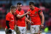 29 February 2020; Munster players, from left, Craig Casey, JJ Hanrahan and Arno Botha during the Guinness PRO14 Round 13 match between Munster and Scarlets at Thomond Park in Limerick. Photo by Ramsey Cardy/Sportsfile