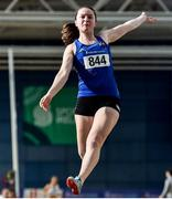 29 February 2020; Lydia Mills of Ballymena and Antrim AC competing in the Senior Women's Long Jump event during day one of the Irish Life Health National Senior Indoor Athletics Championships at the National Indoor Arena in Abbotstown in Dublin. Photo by Sam Barnes/Sportsfile