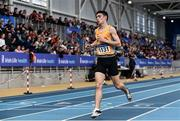 1 March 2020; Darragh McElhinney of UCD AC, Dublin, crosses the line to finish third in the Senior Men's 3000m event during Day Two of the Irish Life Health National Senior Indoor Athletics Championships at the National Indoor Arena in Abbotstown in Dublin. Photo by Sam Barnes/Sportsfile