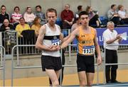 1 March 2020; John Travers of Donore Harriers, Dublin, left, shakes hands with Darragh McElhinney of UCD AC, Dublin, after winning the Senior Men's 3000m event during Day Two of the Irish Life Health National Senior Indoor Athletics Championships at the National Indoor Arena in Abbotstown in Dublin. Photo by Sam Barnes/Sportsfile