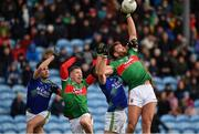 1 March 2020; Aidan O'Shea, right, and Ryan O'Donoghue of Mayo contest a high ball with Graham O'Sullivan, left, and Shane Enright of Kerry during the Allianz Football League Division 1 Round 5 match between Mayo and Kerry at Elverys MacHale Park in Castlebar, Mayo. Photo by Brendan Moran/Sportsfile