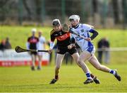 1 March 2020; James Doherty of St Flannan's Ennis in action against Eoin Downey of CBC Cork during the Munster GAA Dr. Harty Cup Final match between CBC Cork and St Flannan's Ennis at Mallow GAA Complex in Cork. Photo by Seb Daly/Sportsfile