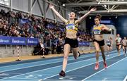 1 March 2020; Louise Shanahan of Leevale AC, Cork, celebrates as she crosses the line to win Senior Women's 1500m event, ahead of Ciara Everard of UCD AC, Dublin, during Day Two of the Irish Life Health National Senior Indoor Athletics Championships at the National Indoor Arena in Abbotstown in Dublin. Photo by Sam Barnes/Sportsfile