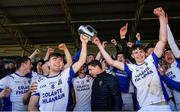 1 March 2020; St Flannan's Ennis joint captains Conner Hegarty, left, and Cian Galvin lift the Dr. Harty Cup following their side's victory during the Munster GAA Dr. Harty Cup Final match between CBC Cork and St Flannan's Ennis at Mallow GAA Complex in Cork. Photo by Seb Daly/Sportsfile